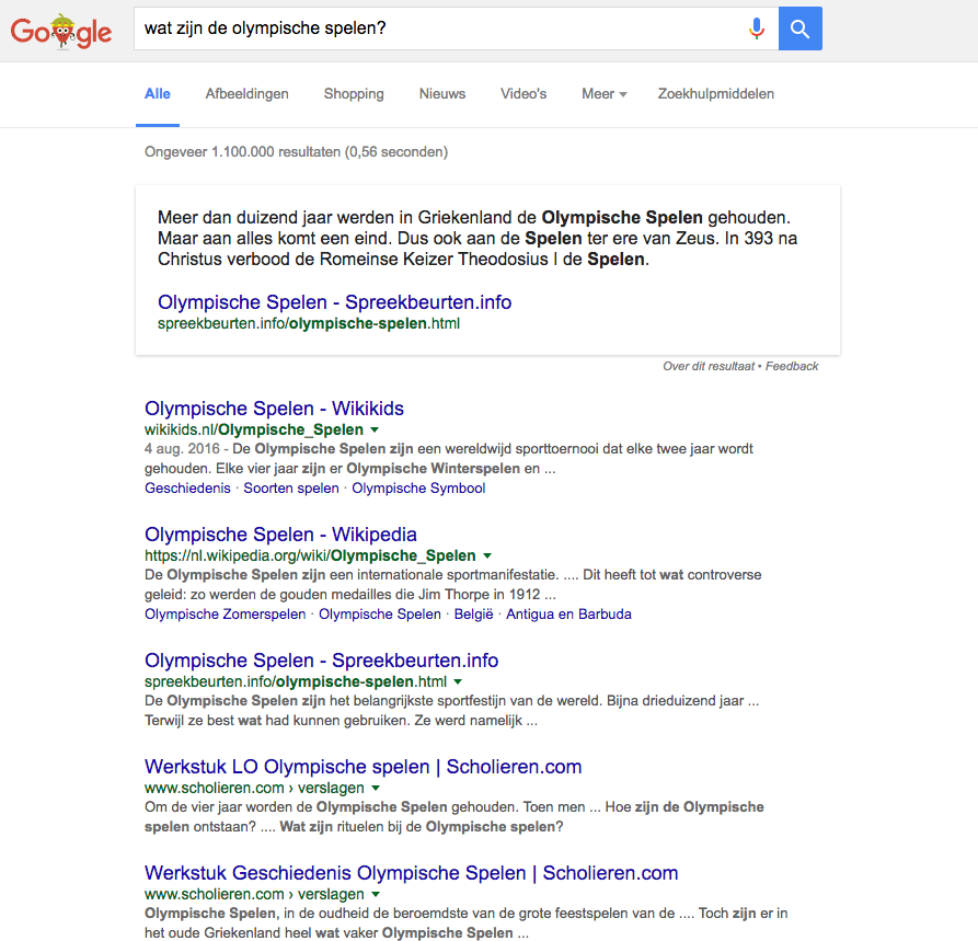 google featured snippets olympisch